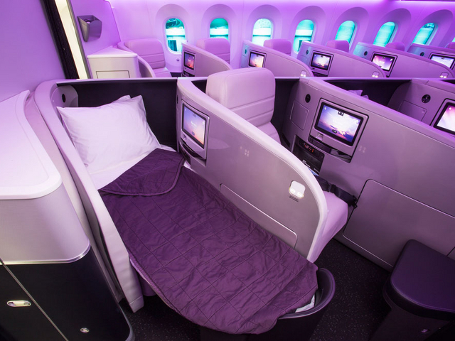 Business class cabins of Virgin Atlantic